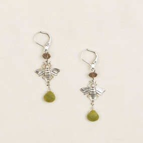 Silver Bees with Stone Briolet Earrings