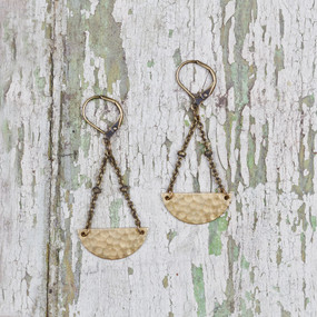 Hammered Half Moon Earrings
