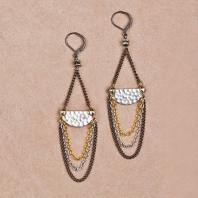 Hammered Half Moon with Chain Earrings