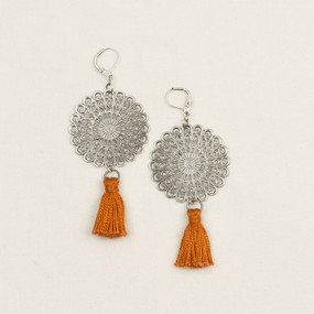 Silver Filigree Disc with Tassel Earrings