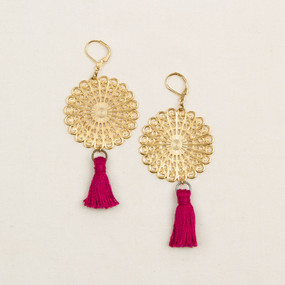 Gold Filigree Disc with Tassel Earrings