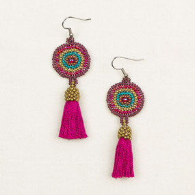 Beaded Medallion Tassel Earrings
