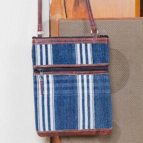 Blue Corte Passport with Leather Trim