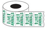 Roll of Green Live Animal Labels with Arrows