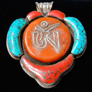 Tibetan Om Set In Coral And Turquoise