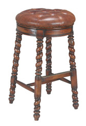 Accessories Abroad Swivel Bar Stool with Leather Seat