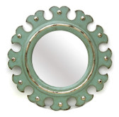 "Accessories Abroad Round Pearl Scallop Mirror green with silver leaf finish 39"" Diameter"
