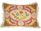 Linni Sisters Floral Leaf Needlepoint Pillow