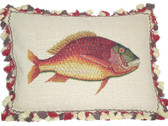Linni Sisters Red Fish Needlepoint Pillow