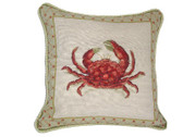 Linni Sisters Crab Needlepoint Pillow