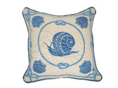 Linni Sisters Blue Snail Needlepoint Pillow
