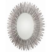 Arteriors Prescott Antiqued Silver Leaf Iron Oval Mirror