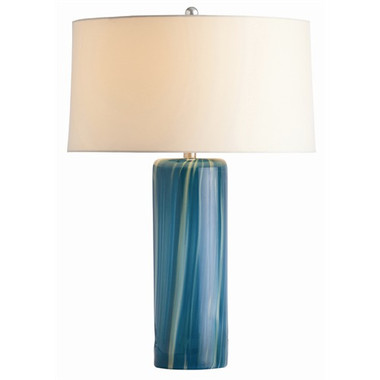 Arteriors Talia Aquamarine Wavy Stripe Glass Lamp