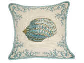Linni Sisters Coral and Shell Needlepoint Pillow II