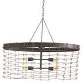 Arteriors Trudy 4L Oval Iron Wire Link Pendant
