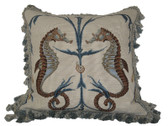 Linni Sisters Seahorses Needlepoint Pillow
