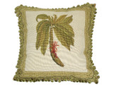 Linni Sisters Green Palm Tree Needlepoint Pillow
