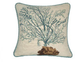 Linni Sisters Blue Coral Needlepoint Pillow I