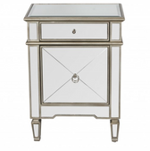 Worlds Away Claudette Nightstand Edged in Silver