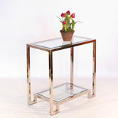 Worlds Away Domino Table in Nickel Plate with Clear Glass Shelves