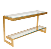 Worlds Away Noho Low Console in Gold Leaf with Clear Glass Shelves