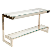 Worlds Away Noho Low Console in Nickel Plate with Clear Glass Shelves