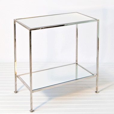 Worlds Away Plano Two Tier Rectangular Nickel Plated Table with Mirror