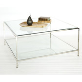 Worlds Away Quadro Square Coffee Table with Beveled Glass - Sleek Nickel