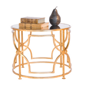 Worlds Away Tess Cocktail Table in Gold Leaf with Antique Mirror Top