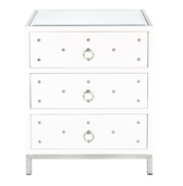 Worlds Away Studded Nightstand - White Lacquer
