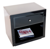 Worlds Away Farrah Nightstand in Black Glass