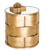 Worlds Away Davis Basket Weave Side Table in Gold Leaf
