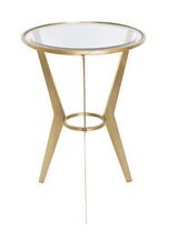Worlds Away Wilma Retro Round Gold Side Table
