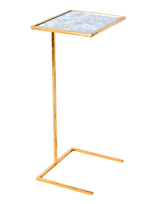 Worlds Away Cigar Table in Gold Leaf with Antique Mirror Top
