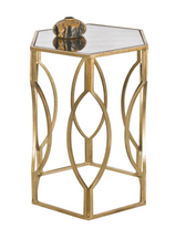 Worlds Away Hexagonal Side Table in Gold Leaf