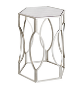 Worlds Away Hexagonal Side Table in Silver Leaf