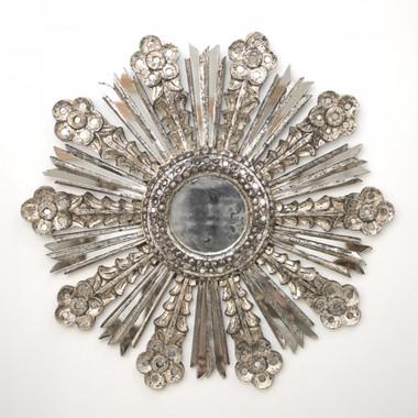 Worlds Away Bella Starburst Mirror in Silver Leaf