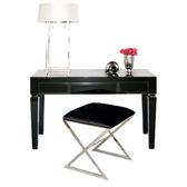 Worlds Away Jacklyn Black Glass Desk