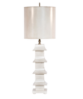 Worlds Away Pagoda Lamp W/ Drum Shade - Cream
