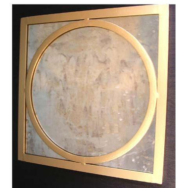 Worlds Away Square Gold Leaf Mirror-Circle