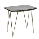 Worlds Away Suzy Silver Leafed Side Table with Black Marble Top