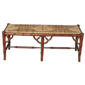 Faux Bamboo Bench, Walnut Brown on Mahogany finish