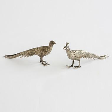 Global Views Pair of Metal Peacocks