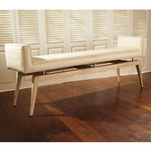Global Views Quilted City Bench in Ivory Leather