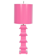 Worlds Away Pagoda Lamp in Hot Pink
