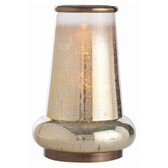 Arteriors Anejo Short Glass and Brass Hurricane Vase