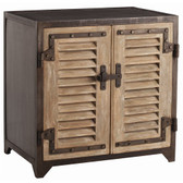 Arteriors Lyon Iron and Wood Shutter Cabinet