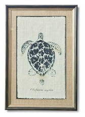 Regina Andrew Sea Turtle Silkscreen on Aged Linen