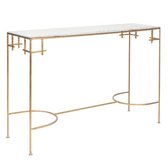 Worlds Away Marcy Gold Leaf Console with White Marble Top