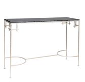 Worlds Away Marcy Silver Leaf Console with Black Marble Top